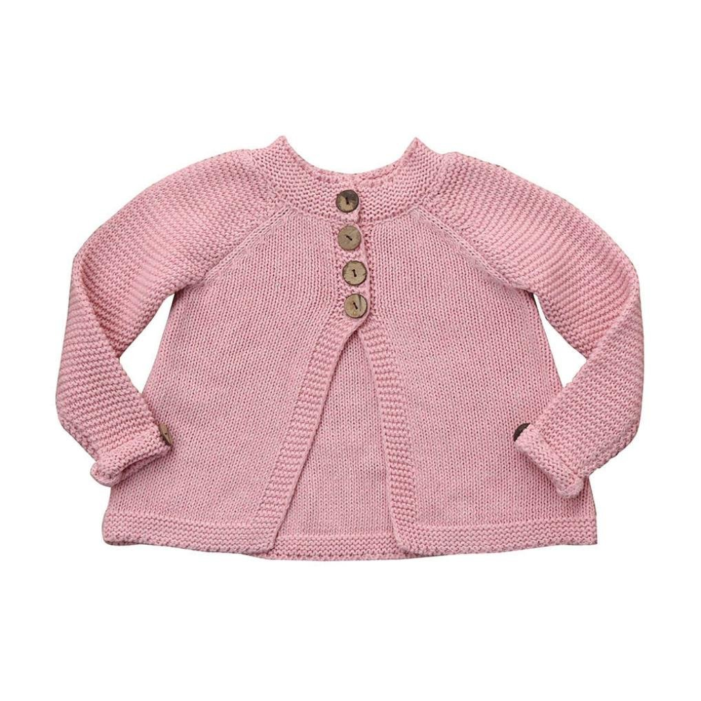 aliveGOT Toddler Kid Girls Woolen Knitted Solid Sweater Cardigan Coat Tops (Pink, 6 Years Old)