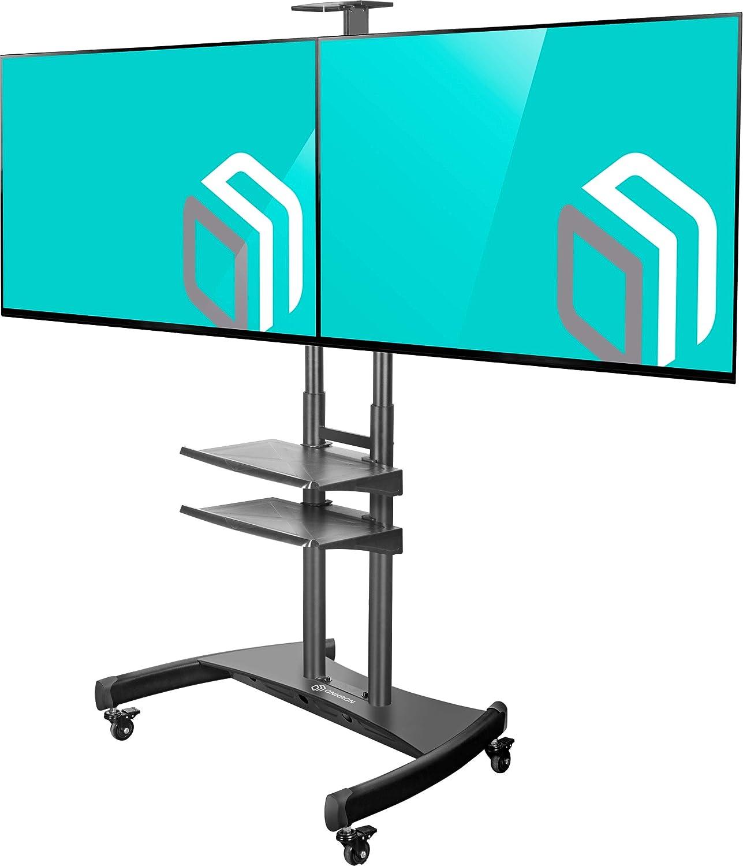 ONKRON Soporte de Piso Carrito Móvil para Doble TV Pantallas LCD, QLED, LED de 40