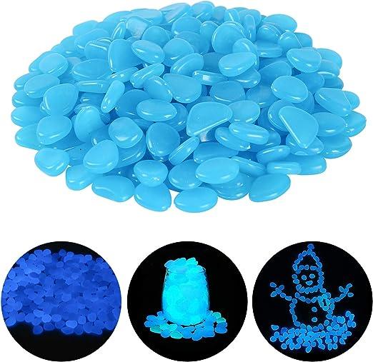 Ulikey 200 Piezas Piedras Luminosas, Piedras Decorativas Guijarros, Piedras Decorativas Fluorescentes Decorativas para Jardín Hogar Aire Libre Parques Peceras Acuario (Azul): Amazon.es: Jardín