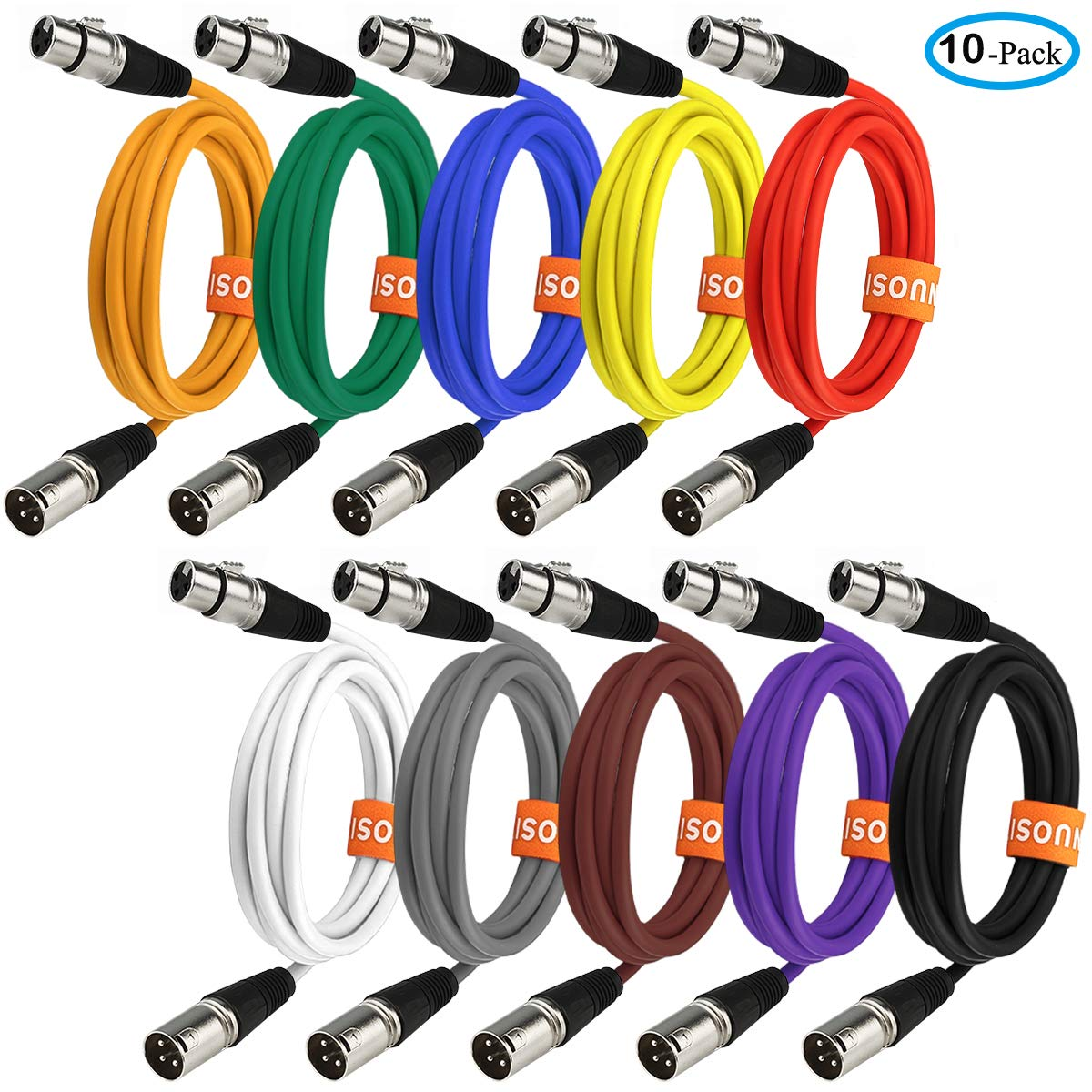 NUOSIYA Colored Microphone Patch Cable 6 feet, XLR male to female mic cables(10-pack), 3 pin double shielded balanced DMX cables/XLR cables.