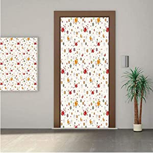 """Nursery Premium Stickers for Door/Wall/Fridge Home DecorBirds Swirls Flowers and Mini Hearts Nature Inspired Drawing Style Happy Animals Decorative 18x80"""" ONE Piece Sticky Mural,Decal,Cover,Skin"""