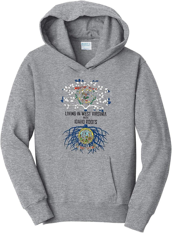 Tenacitee Girls Living in West Virginia with Idaho Roots Hooded Sweatshirt