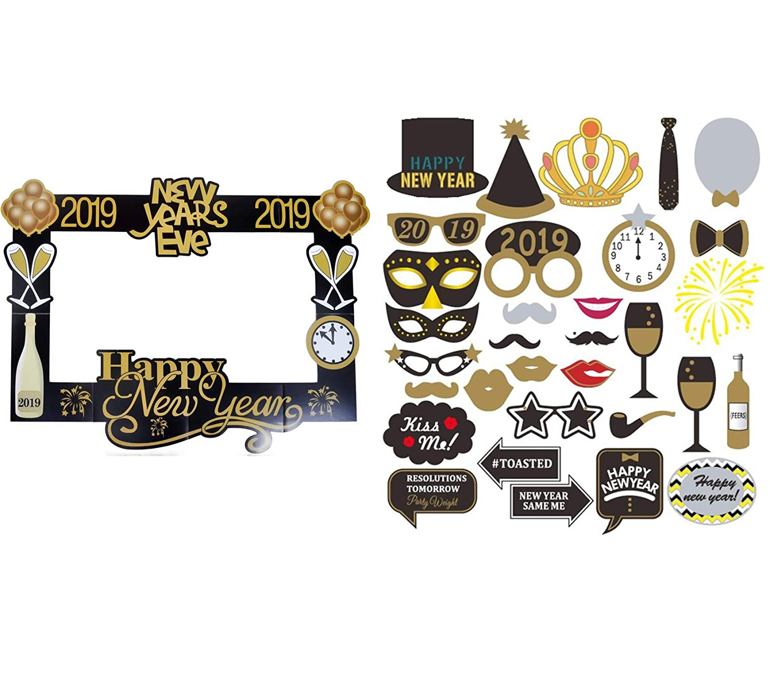 Lalsu 32pcs 2019 New Years Party Photo Booth Props 2019 Picture