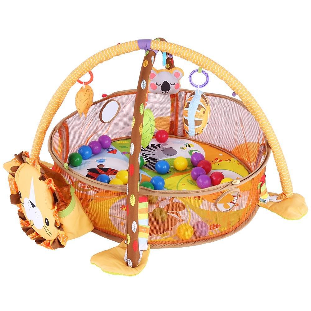 Baby Game Aktivit/ät Gym Mat Krabbeldecke Teppich mit Schutzgitter Mesh Bunte B/älle mit Spielbogen und B/ällen Lion