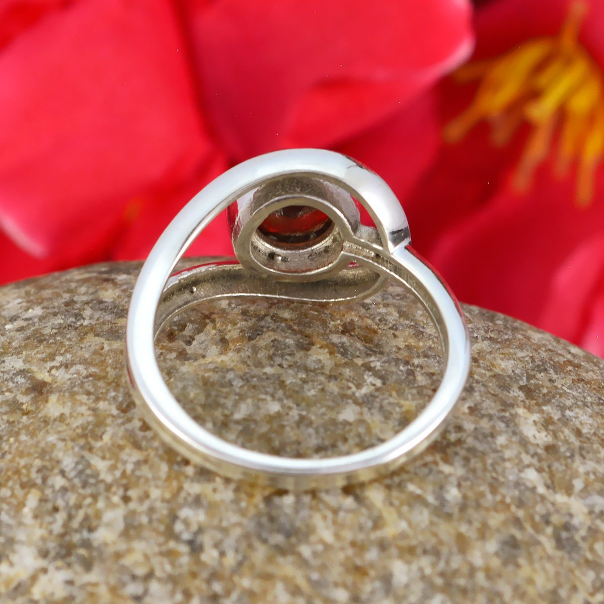 Nice Gemstone Round Faceted Garnets Rings - Solid Silber Red Garnets Nice Gemstone Ring - Supply Jewelry top Selling Shops Gift for Teachers Day Modern Stacking Ring -US 14.5 by RGPL (Image #4)