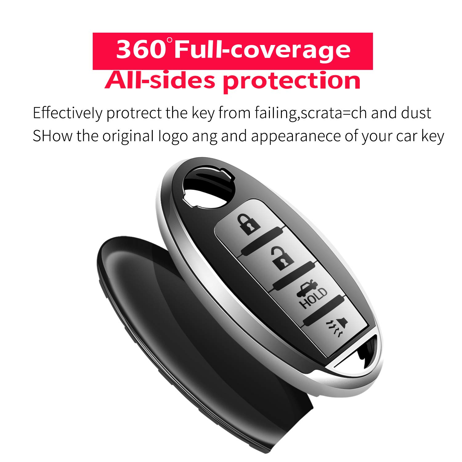 only for 4 Buttons Keyless go Special Soft TPU Key Case Cover Protector Compatible with Nissan Altima Maxima Murano Pathfinder Rogue Armada Sentra Titan Tukeller for Nissan Key Fob Cover -Red