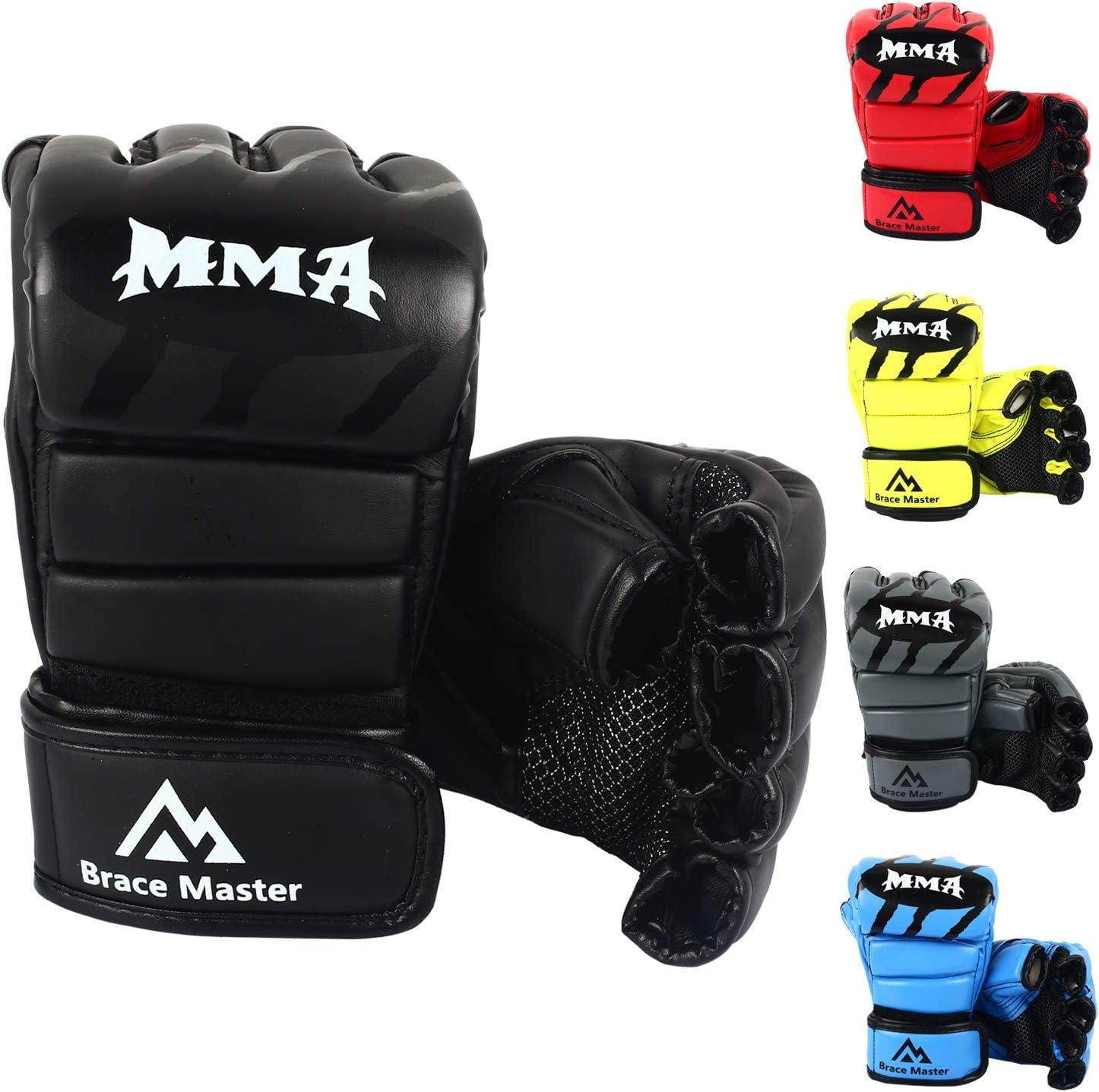 Brace Master MMA Gloves Guantes UFC Guantes de Boxeo para Hombres Mujeres Cuero Más Acolchado Saco de Boxeo sin Dedos Guantes para Kickboxing, Sparring, Muay Thai y Heavy Bag