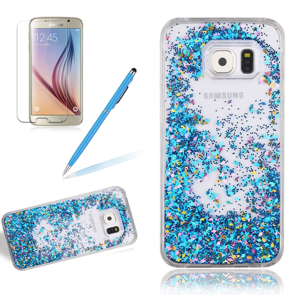 Case Cover For Samsung Galaxy S6, Girlyard Novelty Design Fluid Liquid Case Slim Crystal Stars Leaves Case Bling Glitter Sparkles Hourglass Cover Clear Back Case Transparent Quicksand Shell [Free Screen Protector], Rose Gold