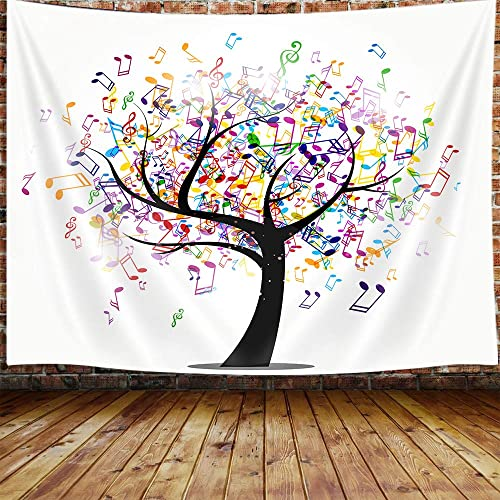 JAWO Music Life Tree Large Tapestry, Musical Note Tapestry Wall Hanging for Bedroom, Modern Colorful Tapestry Beach Blanket College Dorm Home Decor 90 W X 70 H