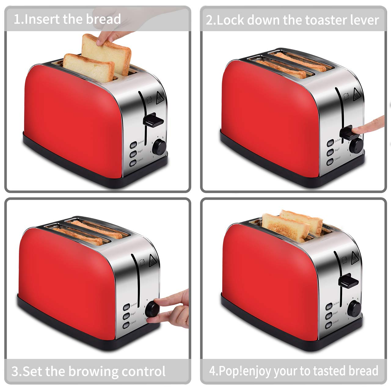 COSSCCI Red Toaster 2 Slice Brushed Stainless Steel Toaster with Wide Slots,Removable Crumb Tray,High Lift Lever, Reheat Defrost and 7 Shade Setting