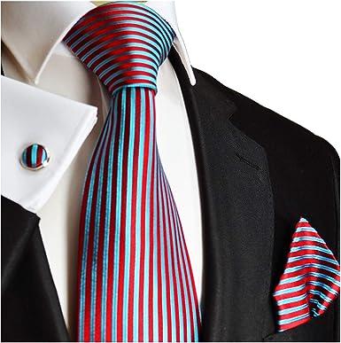 Necktie Set by Paul Malone 100/% Silk Tie Handkerchief and Cufflinks Blue and White