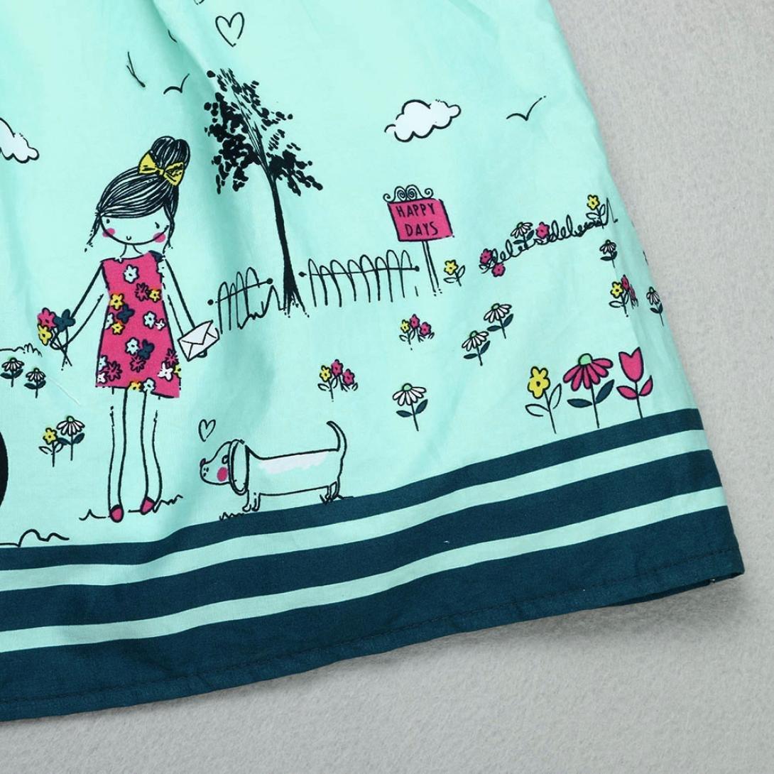 Kleider M/ädchen GJKK Kinder Baby M/ädchen Crewneck /Ärmellos Karikatur Streifen Prinzessin Kleid Party Prinzessin Kleider Minikleid Sommerkleid Drucken Baumwolle Cartoon T-Shirt Kleid