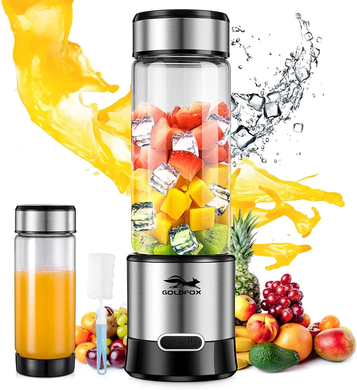 Portable Blender, GOLDFOX USB Rechargeable Personal Blender for Shakes and Smoothies, 15oz Detachable Portable Juicer Cup Small Fruit Juice Mixer for Travel, Gym, Office etc. (with Brush)