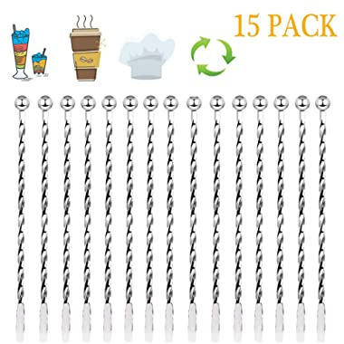Stainless Steel Stirrers 15 PCS Metal Stir Mixing Drinks 7.5 Inch Coffee Beverages Cocktail Swizzle Stick with Small Rectangular Paddles