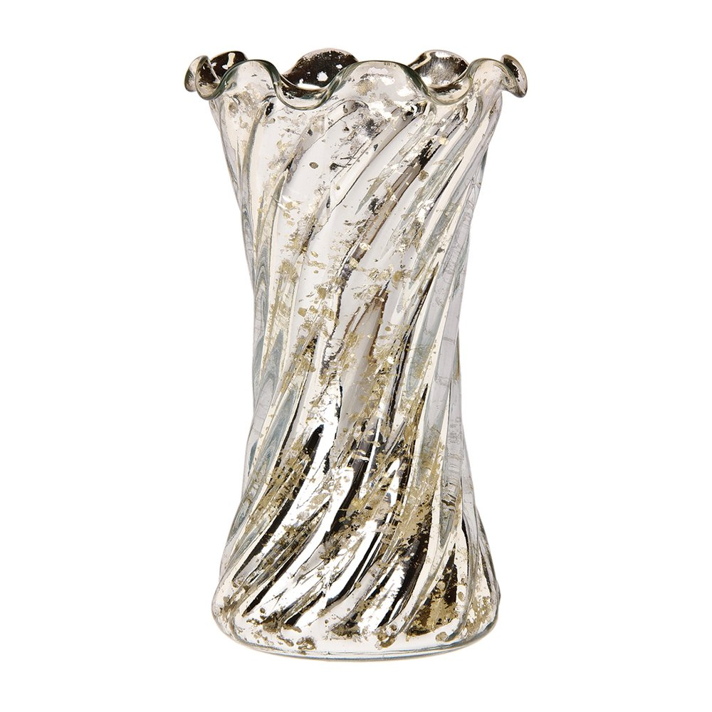 Luna Bazaar Vintage Mercury Glass Vase (6-Inch, Grace Ruffled Swirl Design, Silver) - Decorative Flower Vase - For Home Decor and Wedding Centerpieces