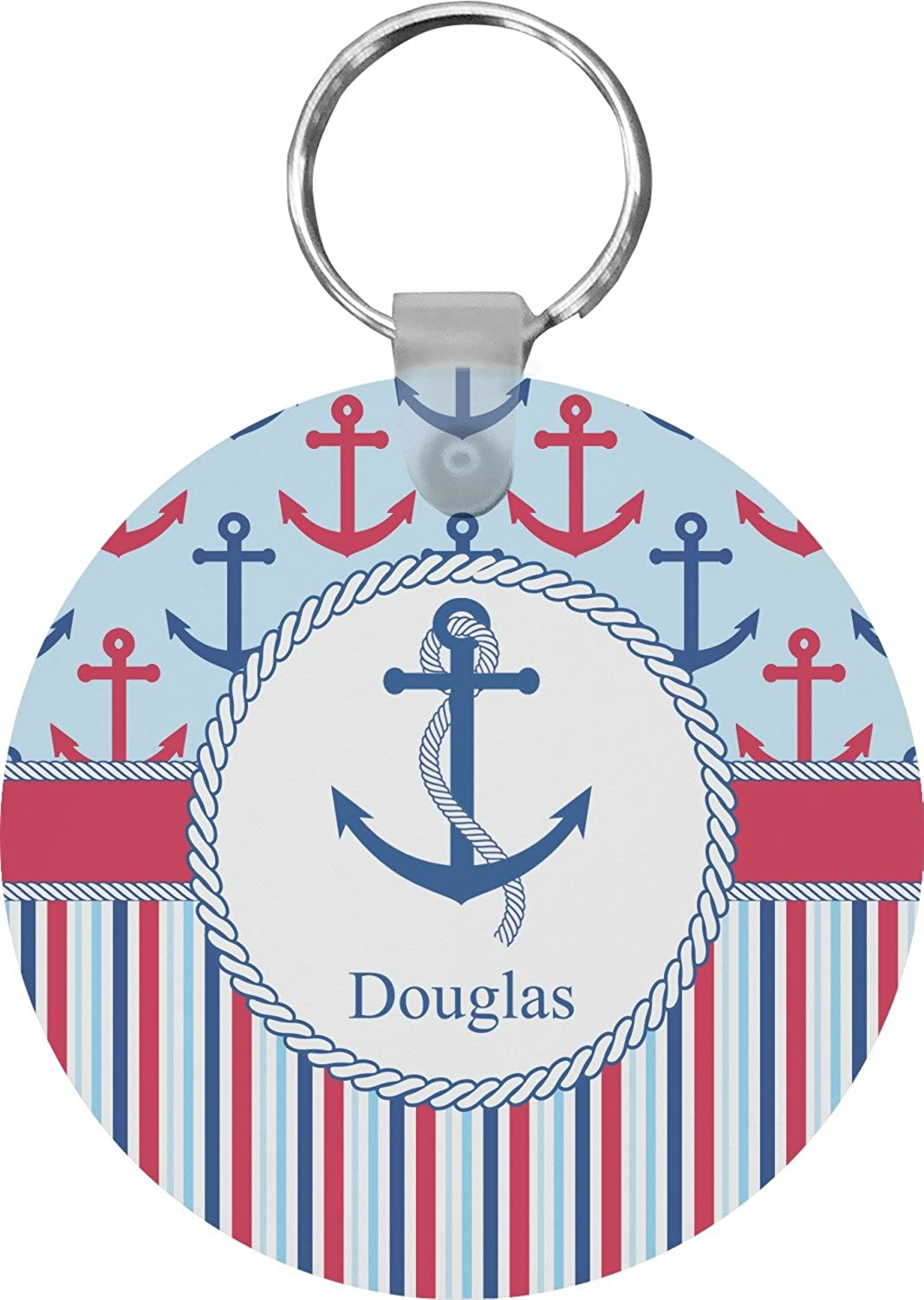 Anchors & Stripes Round Keychain (Personalized)