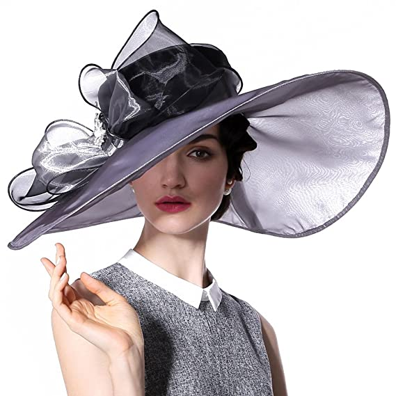 0fd33e9a1ff57 June s young Ladies Hat Wedding Hat For Beach Summer Party Ascot Race Derby Church  Wide Brim