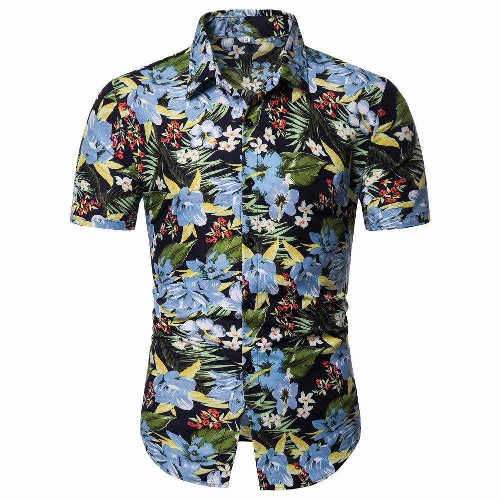 Mens Short Sleeve Hawaiian Shirt Flower Leaf Beach Aloha Party Casual Holiday