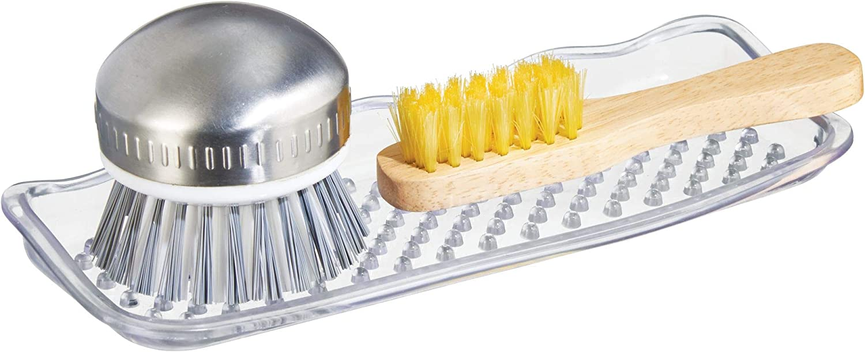 Scrubbers InterDesign Sinkworks Kitchen Sink Tray for Sponges Soap Clear