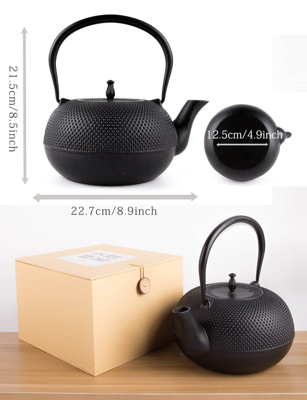 SUSTEAS Tetsubin Cast Iron Teapot with Stainless Steel Infuser Japanese tea pot kettle (65oz)