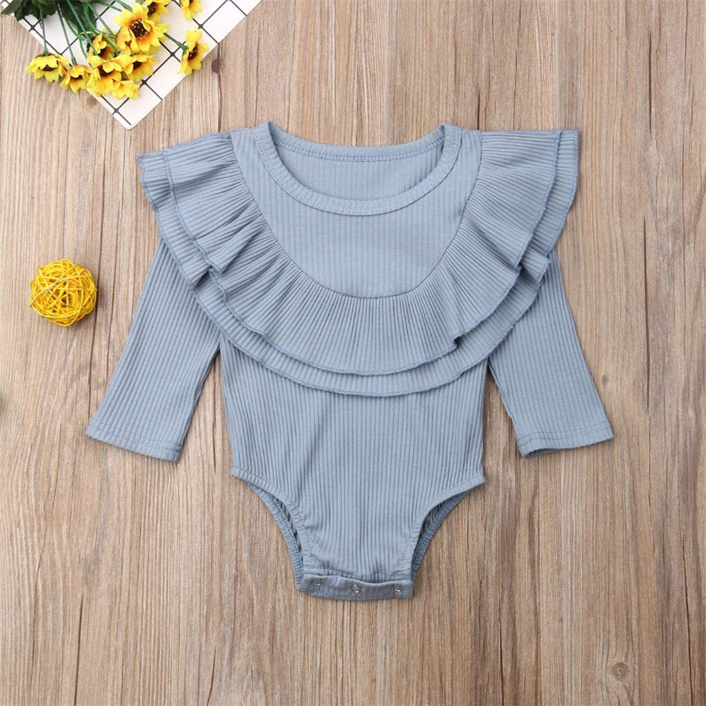 Aoesila 2019 Summer Toddler Baby Kids Girls Boys Pleated Rim Long Sleeve Ruched Solid Romper Bodysuit Clothes