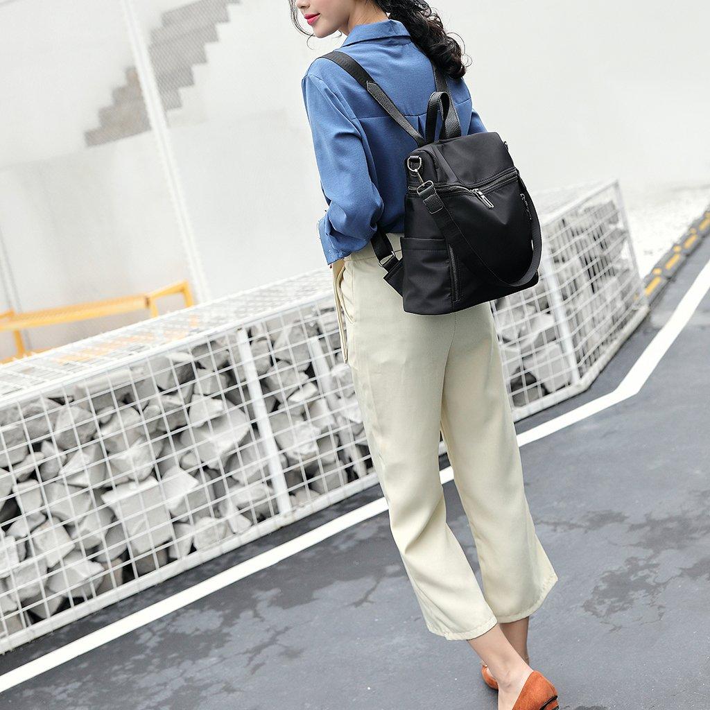 Thobu Women Fashion Nylon Backpack Purse Lightweight Schoolbag Travel Casual Daypack-Black by Thobu (Image #2)