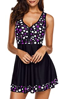 eb48664918c Uniarmoire Womens Polka Dot Swimdress Two Piece Swimsuit and Brief Plus Size