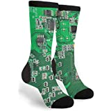 Green Computer Circuit Board Unisex Adult Fun Cool 3D Print Colorful Athletic Sport Novelty Crew Tube Socks
