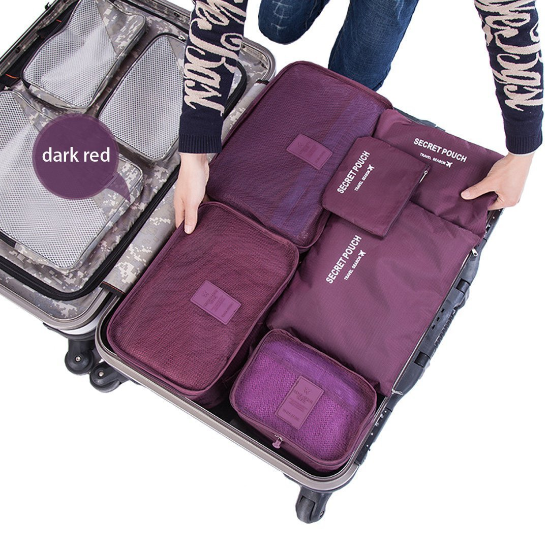Travel Organizers - 6 Pieces(pcs) Set - Packing Cubes Luggage Bags Compression Pouches with Laundry Bag (Burgundy)