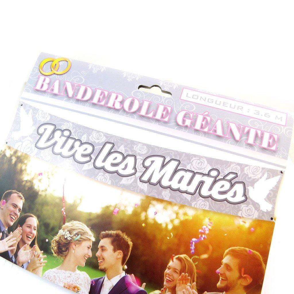 N6536 - Banderole Vive Les Mari/és Gris Blanc 3.6 m Les Tr/ésors De Lily