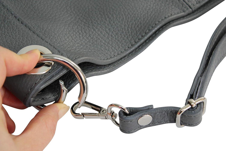 AMBRA Moda damhandväska äkta läderväska axelväska shoppare GL012 GRÅ