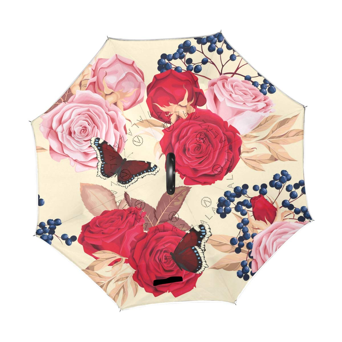 258a3517f29c Amazon.com : ATZUCL Rose and Butterflies Reverse Umbrella with C ...