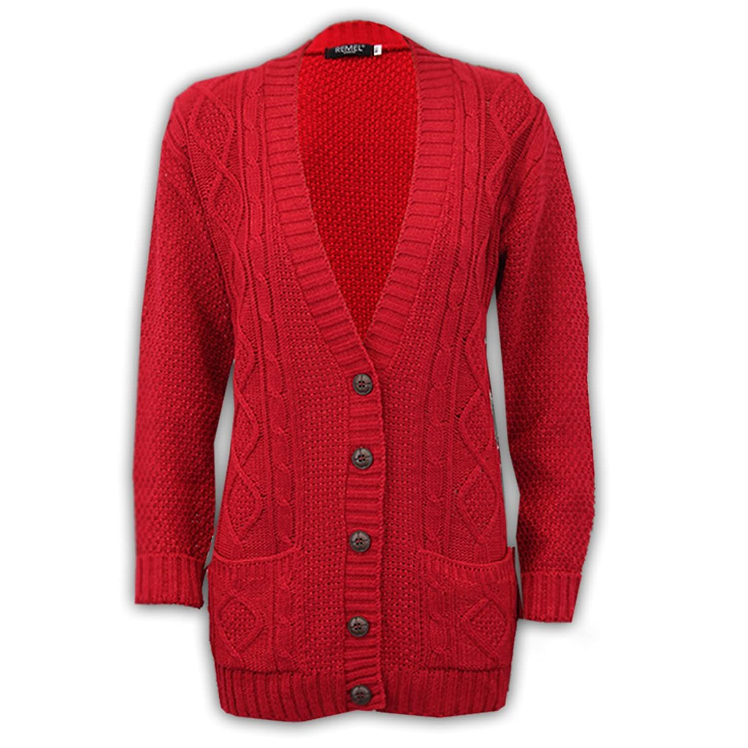 Ladies Cardigans Womens Knitted Jumper Cable Jacquared Boyfriend ...