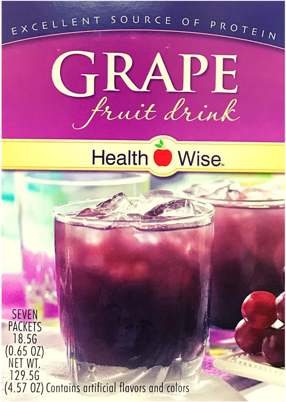 Healthwise - Grape Diet Fruit Drink | Healthy Protein Drink, Appetite Suppressant | High Protein, Fat Free, Low Carb, Low Calorie, Sugar Free (7/Box)