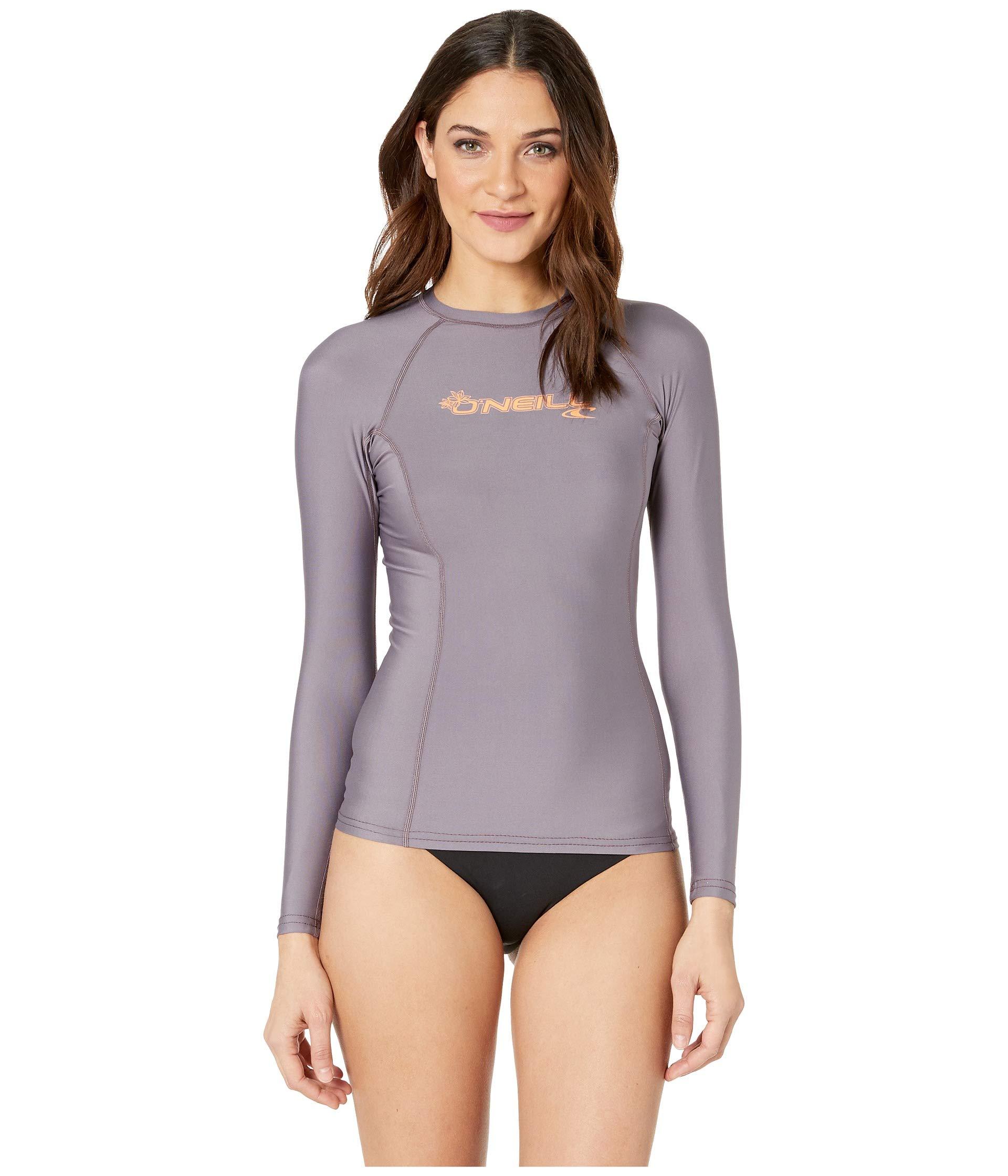 O'Neill Wetsuits Women's Basic 50+ Long Sleeve Rash Guard, Dusk, Large