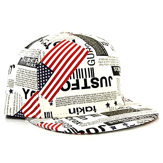 WUKE US Newspaper Pattern with American Flag PU Leather Snapback Cap ... 178850282ba