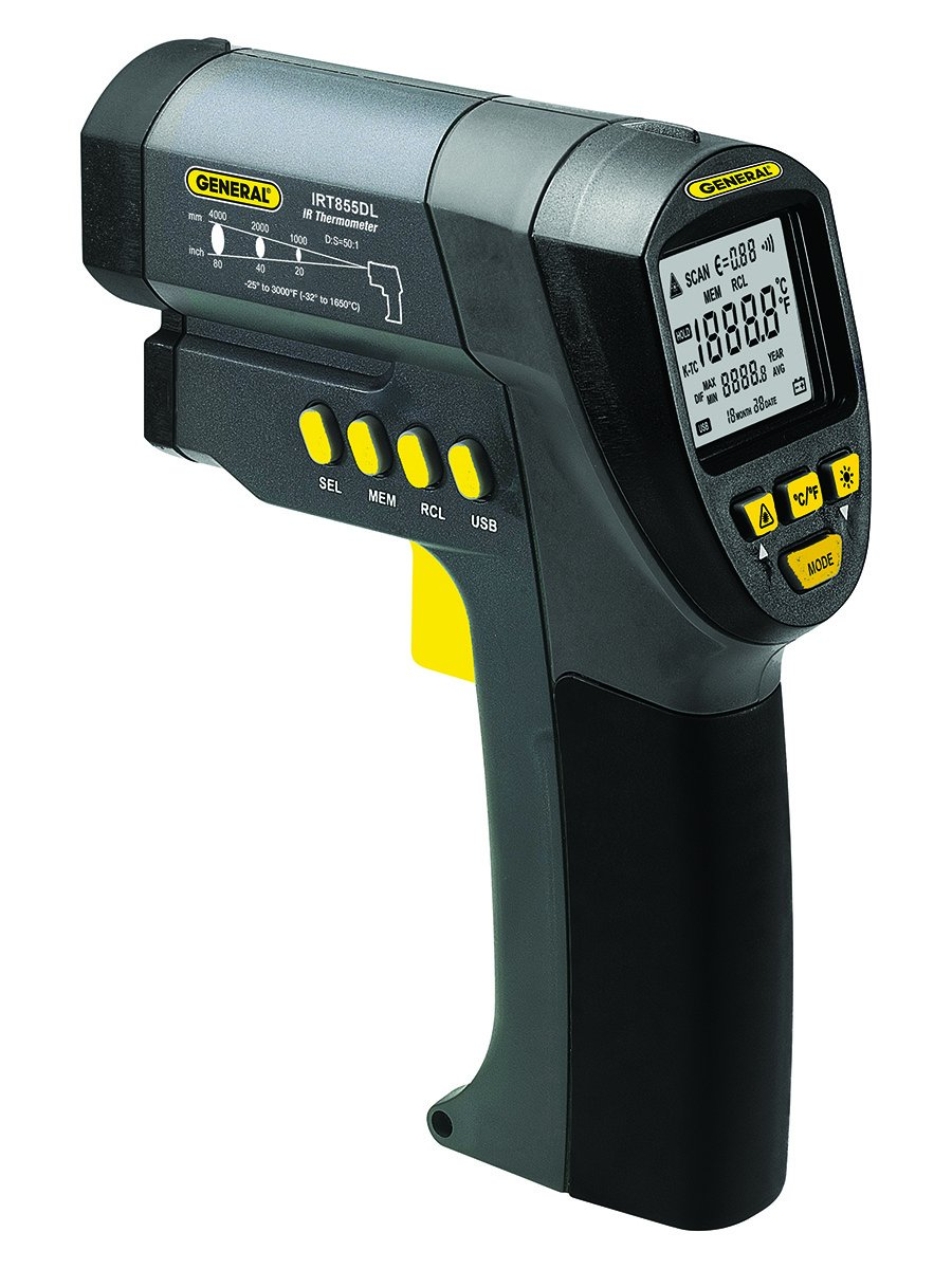 General Tools IRT855DL 50:1 Ultra Wide-Range Data Logging IRT Thermometer with K Port