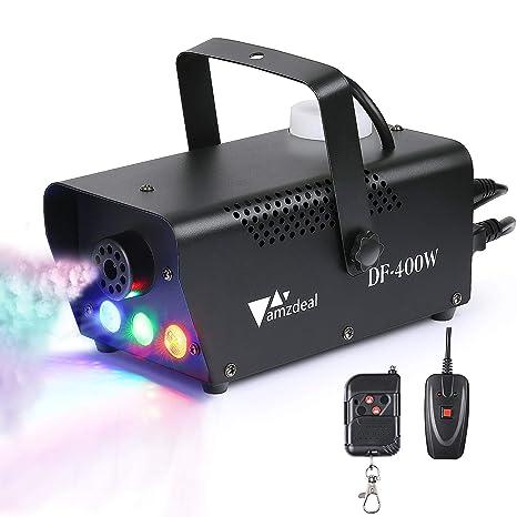 Máquina de Niebla, Amzdeal - Máquina de Niebla Portátil con LED, con Mando a