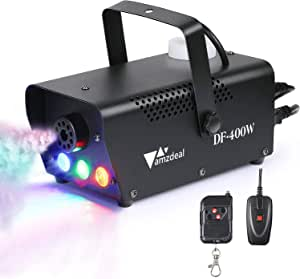 Máquina de Niebla, Amzdeal - Máquina de Niebla Portátil con LED, con Mando a Distancia Verdrahten E Inalámbrica para Hogar, Partido, Navidad, ...