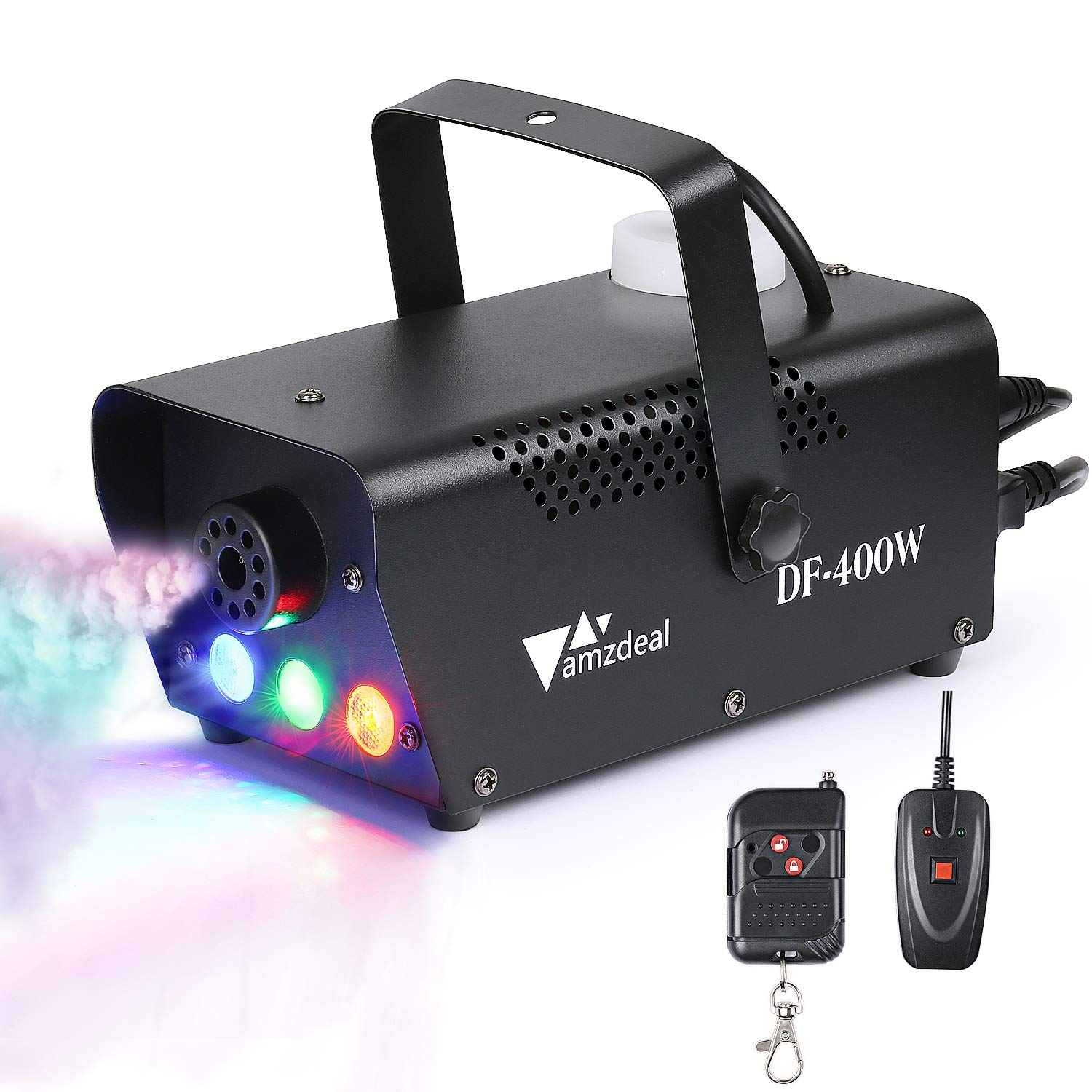 Amzdeal Fog Machine, Portable Smoke Machine with LED Lights Equipped with Wired and Wireless Remote Control Suitable for Home, Party, Christmas, Halloween and Weddings (400W)