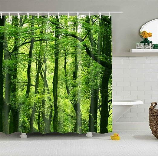 Forest Shower Curtain Scandinavian Nature Print for Bathroom