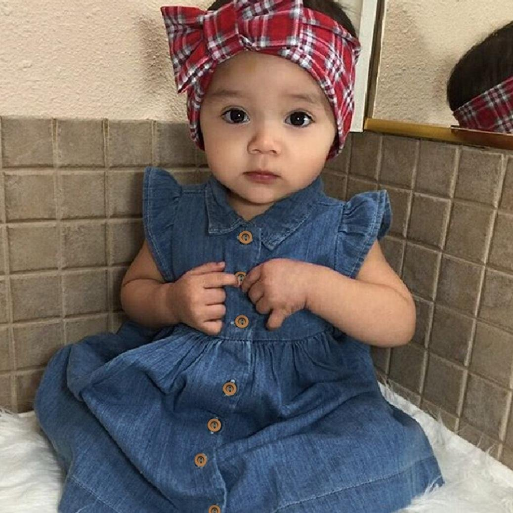 Amazon.com: Jarsh Baby Girls Fly Sleeve up Collar Denim Princess Dress with Button Summer Outfits: Clothing