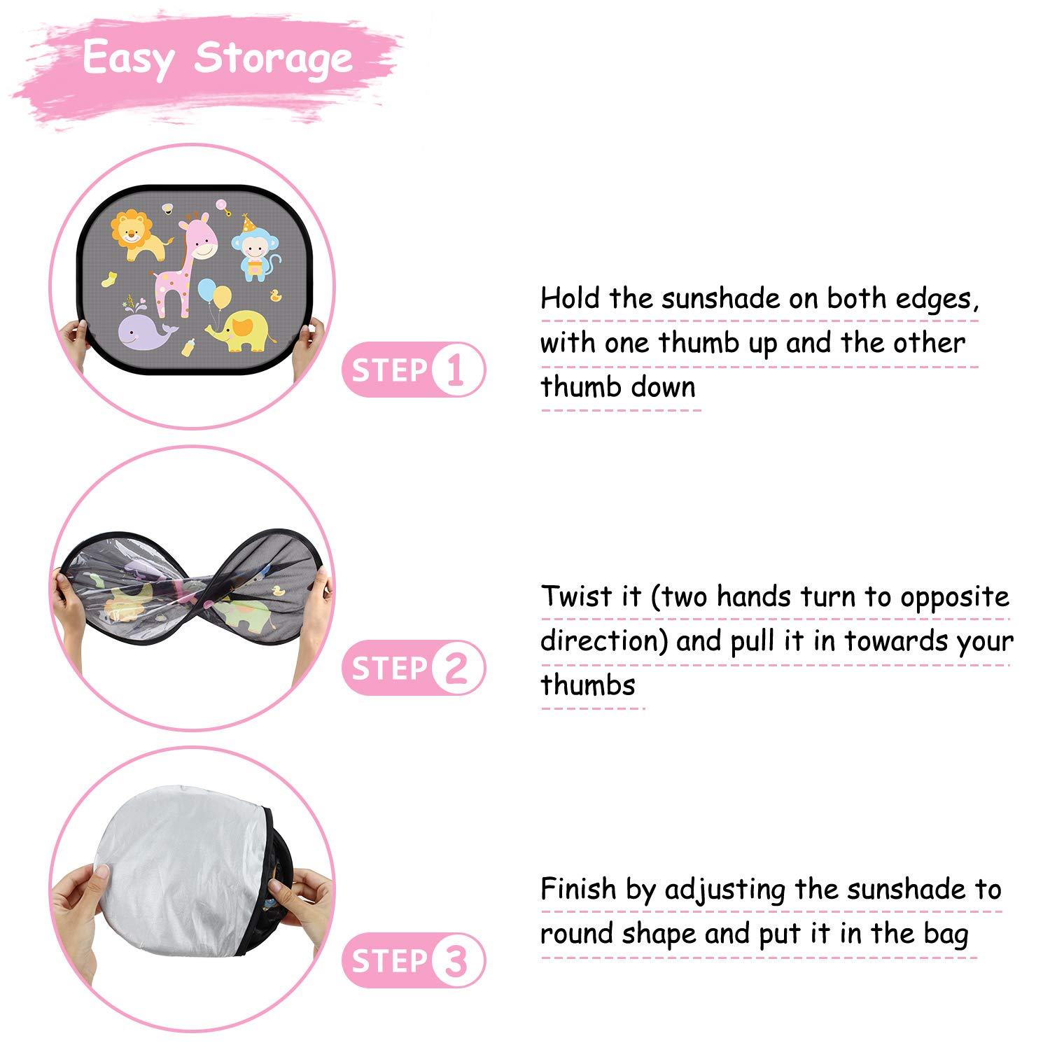 2 Pieces with Various Patterns Multi-Way WOTEK Baby Car Sun Shade with UV Protection for Children with Cute Animal Motifs