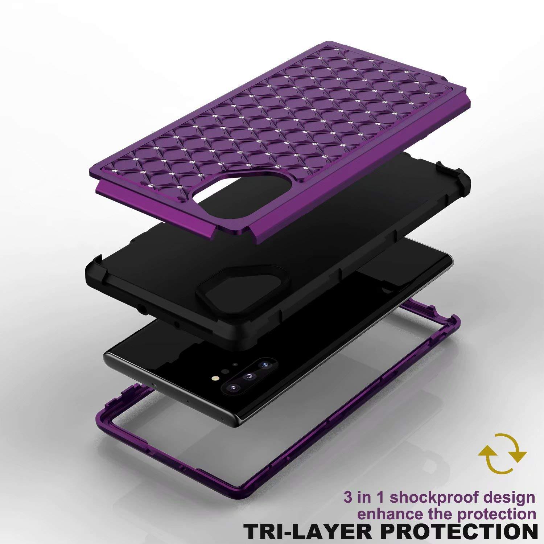 Purple Plus Case Plus 5G Galaxy Note 10 Ranyi Full Body Protection 3 in 1 Bumper Bling Diamond Glitter Rhinestone Design Shock Absorbing High Impact Defender Case for Samsung Galaxy Note 10