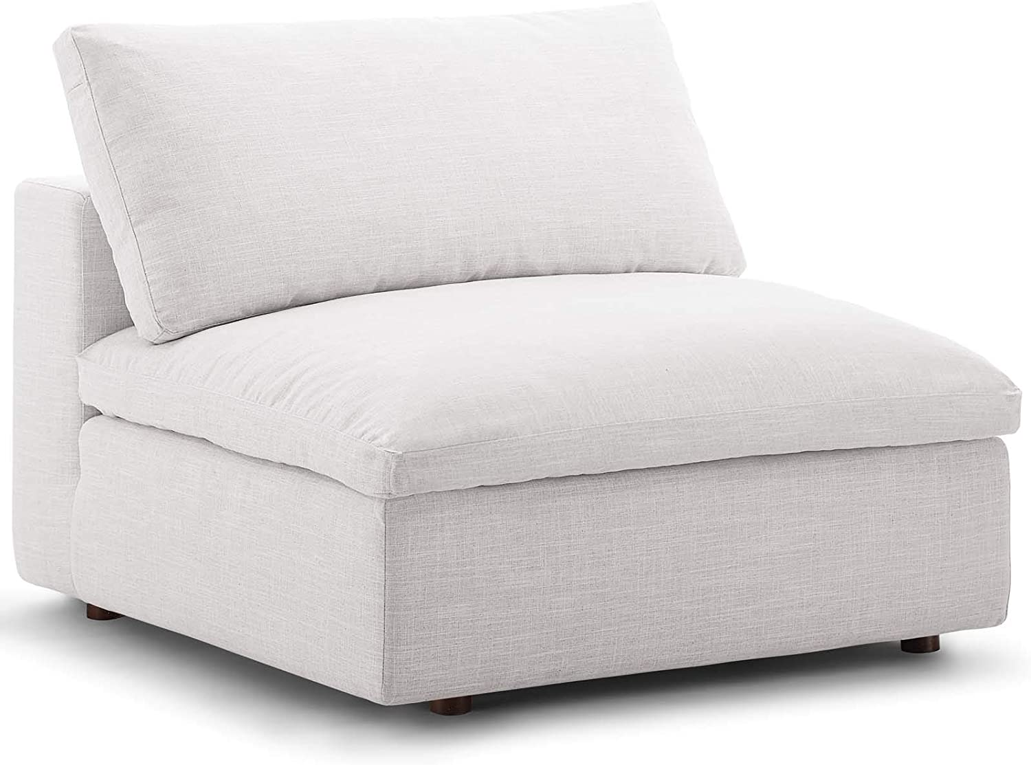Modway Commix Down-Filled Overstuffed Upholstered Sectional Sofa Armless Chair in Beige
