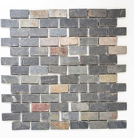 Mosaique carrelage ardoise pierre naturelle noir rouille ...