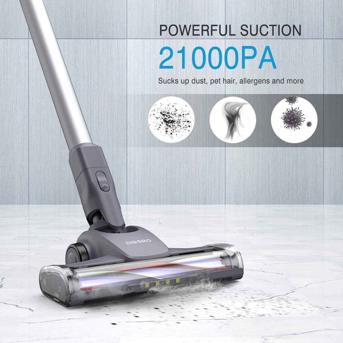 Diggro Aspirador sin Cable Potente 21KPa, de Mano 2 en 1 con Varios Accesorios, LED Cabeza, Batería Recargable: Amazon.es: Hogar