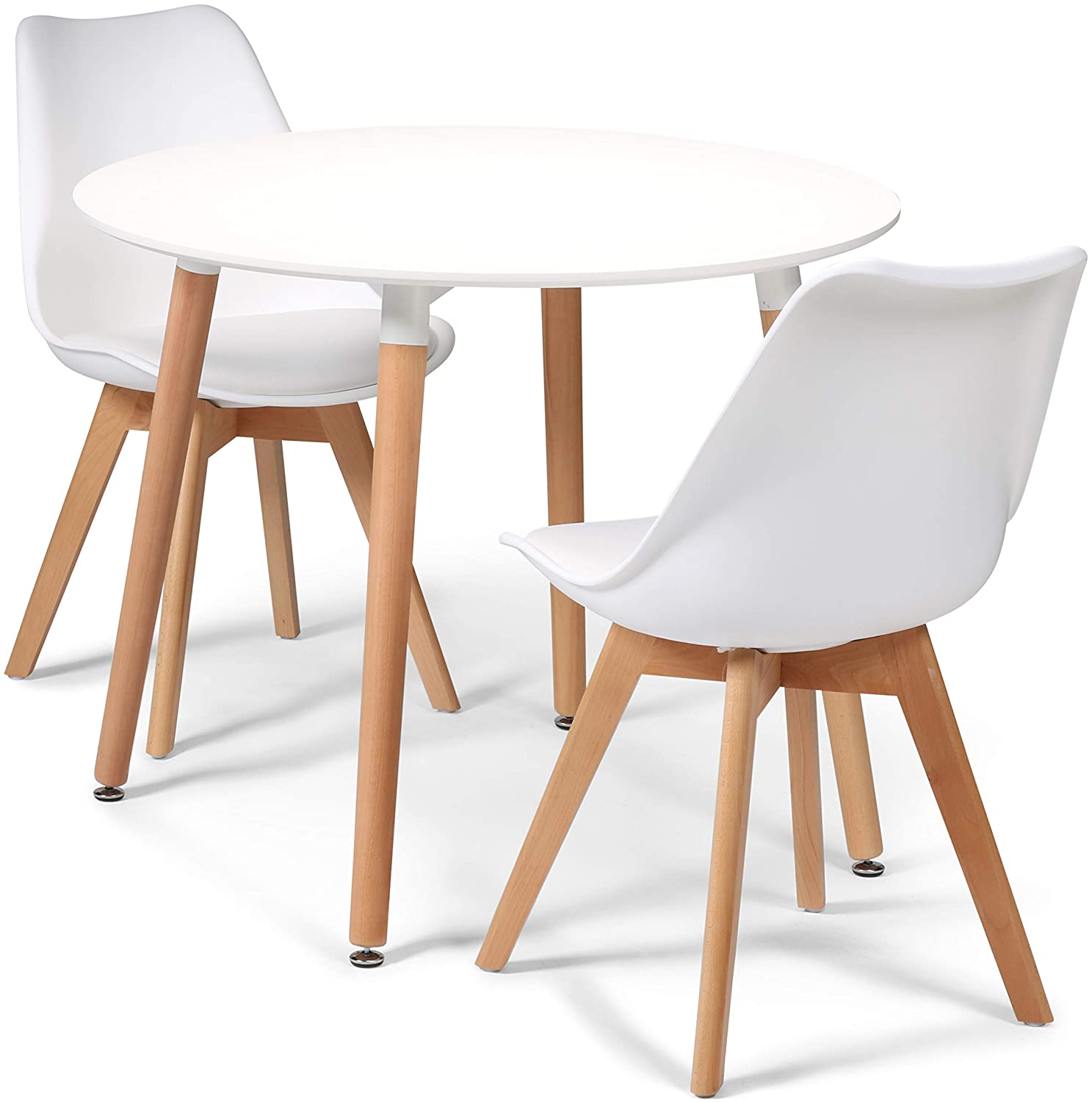 Your Price Furniture.com Toulouse Tulip Eiffel Style Dining Set - White 90cms Small Round Table And 2 White Chairs