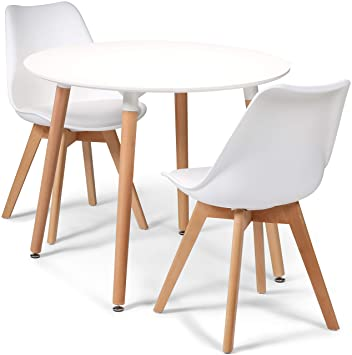 73229e8c80c0 Your Price Furniture.com Toulouse Tulip Eiffel Style Dining Set - White 90cms  Small Round Table And 2 White Chairs  Amazon.co.uk  Kitchen   Home