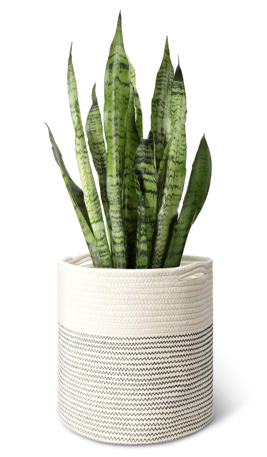 """Mkono Cotton Rope Plant Basket Modern Indoor Planter Up to 11 Inch Pot Woven Storage Organizer with Handles Home Decor, 12"""" x 12"""""""